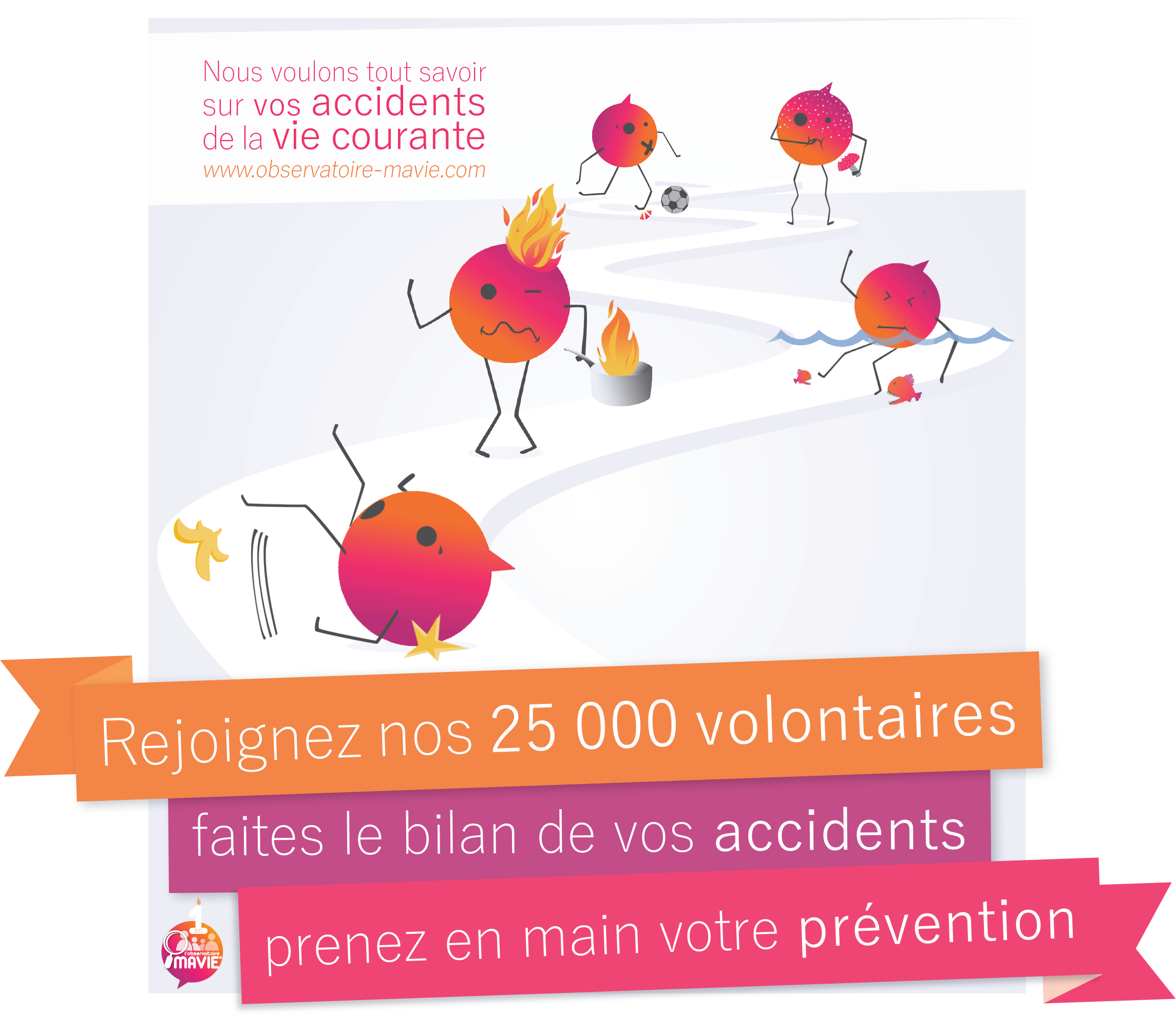 Illustration MAVIE, accidents de la vie courante, accidents domestiques, illustration observatoire MAVIE, participer à la recherche scientifique, devenir volontaire MAVIE, communication observatoire MAVIE, communication étude MAVIE, aider la recherche, recherche accidents, accidentologie